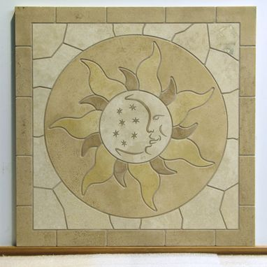 Custom Made Celestial Travertine Mosaic Mural