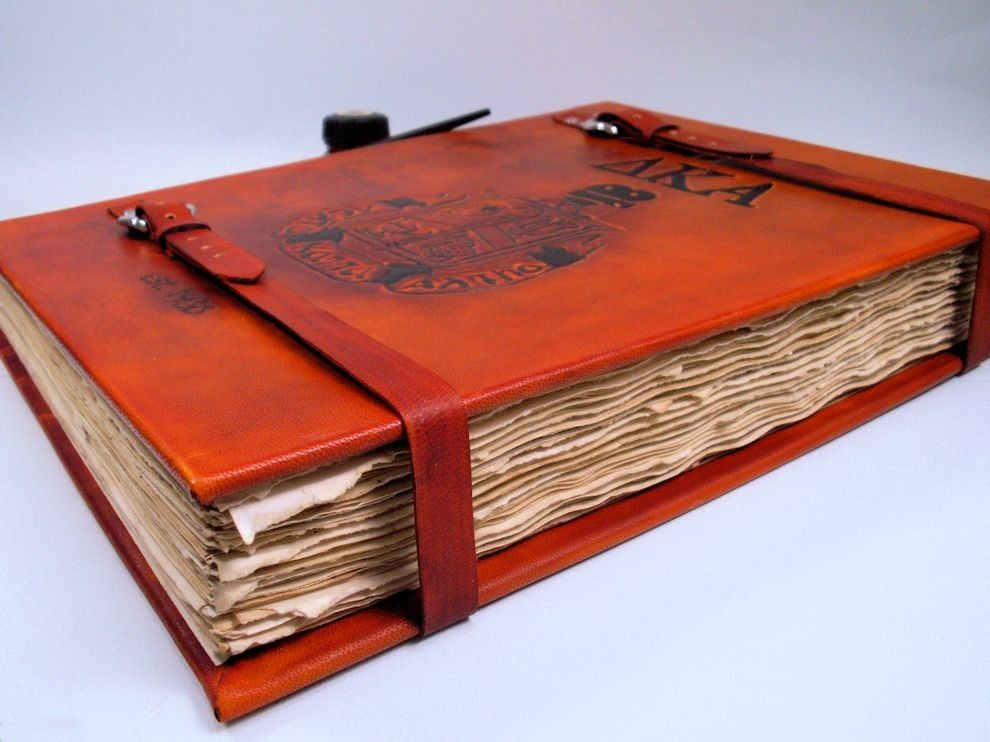 Hand Made Oversized Custom Leather Hardcover Book By Lady