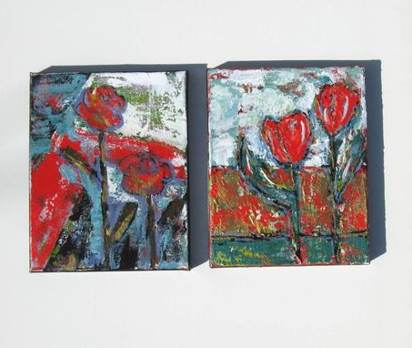 Custom Made Red Flowers Abstract Acrylic Painting, Original On Canvas