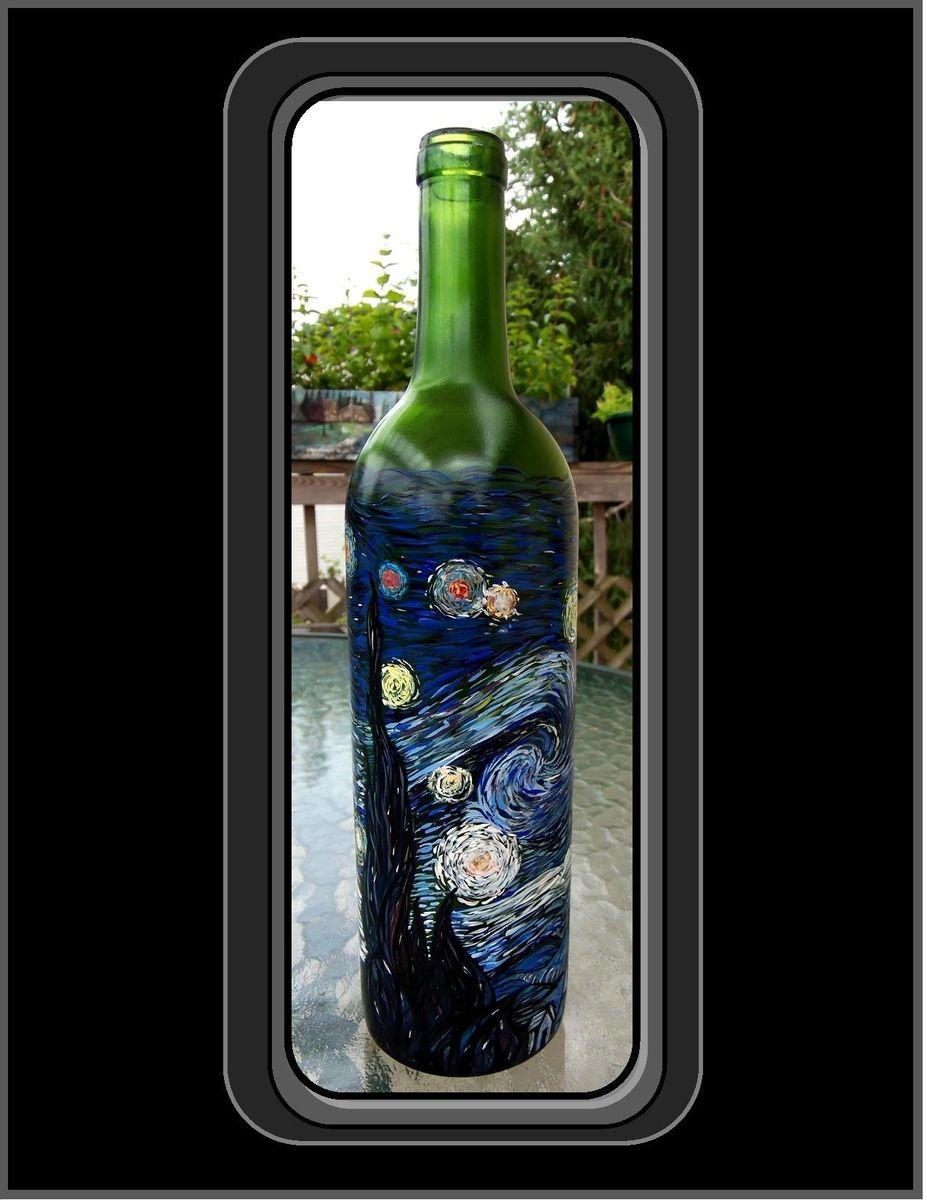 Kitchen art wine - Custom Made Vincent Van Gogh Starry Night Masterpeice Wine Bottle Wine Art