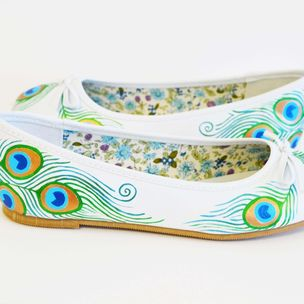 2aeed3c6c8a1e2 Peacock Flats- Wedding Flats- Hand Painted Shoes by
