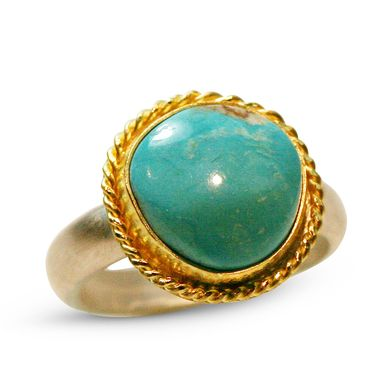 Custom Made Turquoise Ring In Gold & Silver