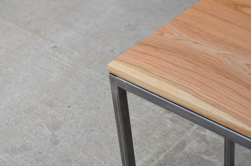 Custom Made Cherry Wood And Raw Steel End Table