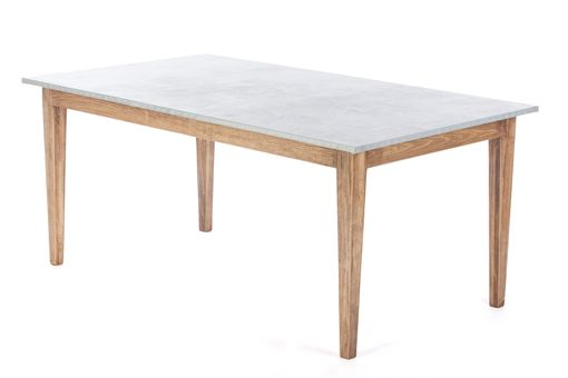 Custom Made Zinc Table  Zinc Dining Table - The Bordeaux Bistro Zinc Top Dining Table -Walnut Finish