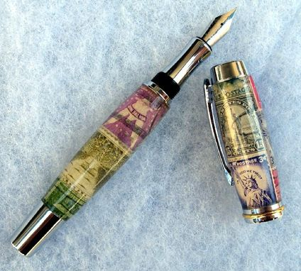 Custom Made Pens Made From Vintage Materials,  Stamps