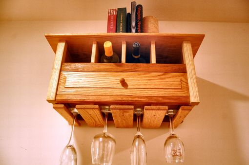 Custom Made Wall Hanging Wine Rack / Bookshelf