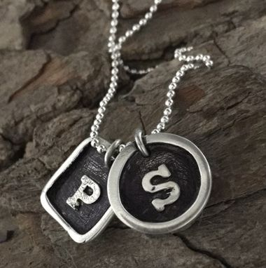 Custom Made Fine Silver Double Framed Initial Necklace