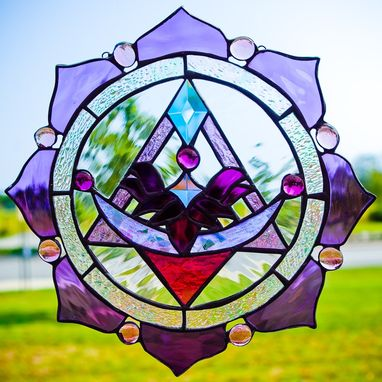 Custom Made Stained Glass Lotus And Pyramid Panel In Purples