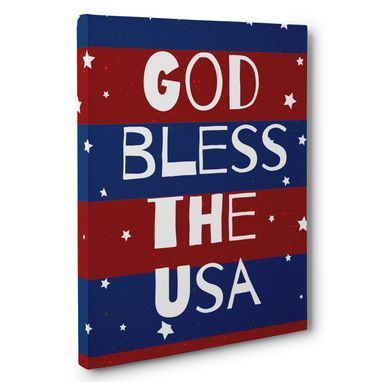 Custom Made God Bless The Usa Patriotic Canvas Wall Art