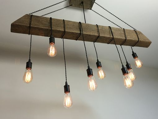 Custom Made Reclaimed Barn Beam Light Fixture/Bar/Restaurant /Home. Edison Bulb. Rustic Modern Industrial