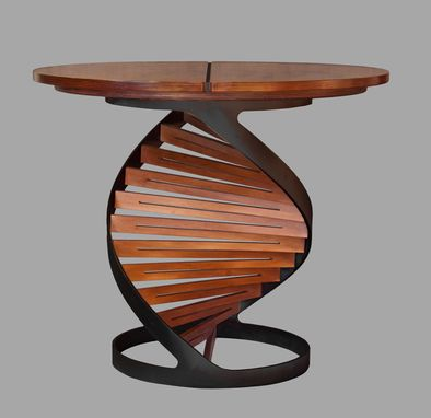 "Custom Made ""Helix"" Table, Steel And Wood"