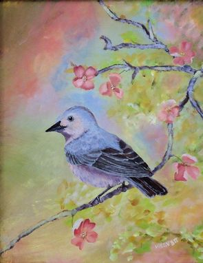 Custom Made Bird Painting, Wildlife Painting: Lucy's Warbler, Acrylic On Canvas