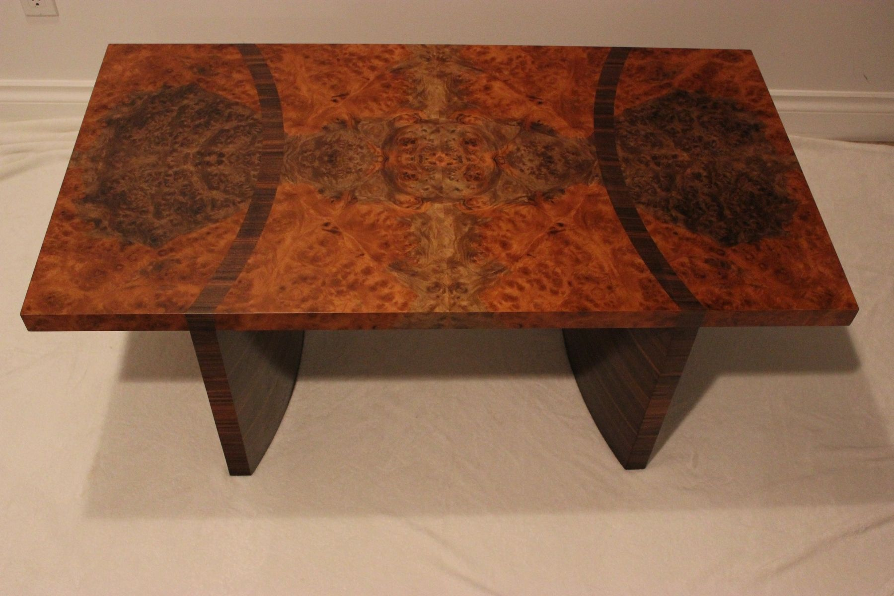 Custom walnut burl coffee table by riley s cabinets