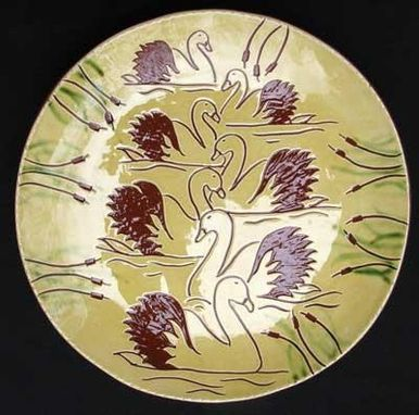 "Custom Made ""Seven Swans A-Swimming""  , Ceramic Plate"