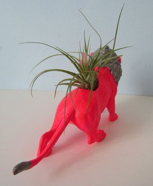 Custom Made Upcycled Toy Planter - Neon Pink And Silver Lion And Air Plant