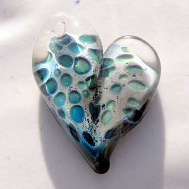 Custom Made Hand-Blown Glass Heart Pendant With Blue Leopard Design