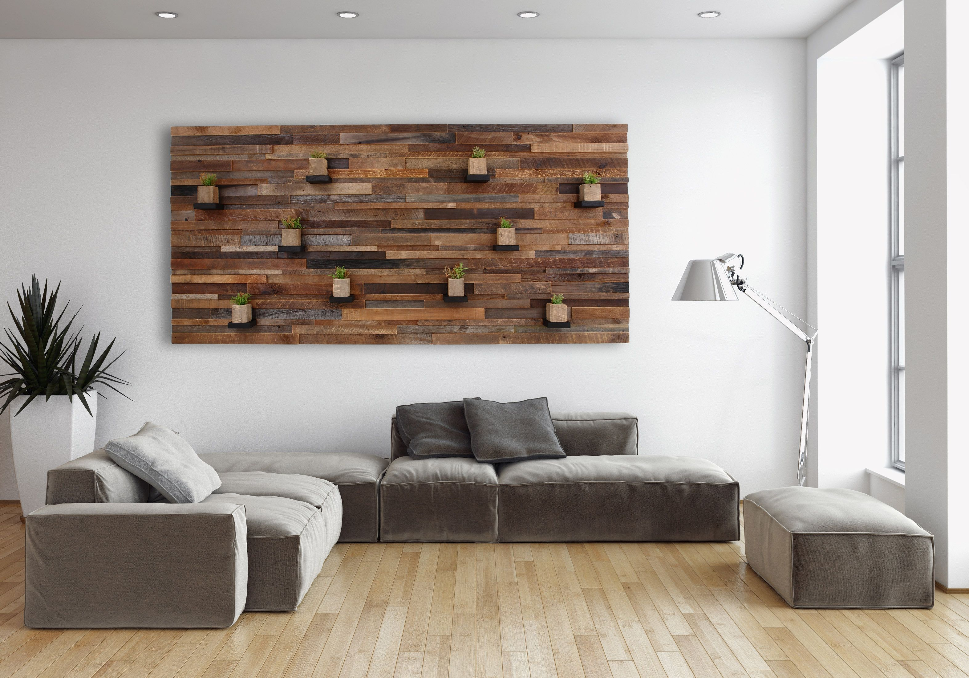 Hand made wood wall art with floating wood shelves 84 by for Meuble tv wooden art