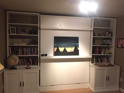 Custom Made Murphy Bed Wall Unit With Bookcases And Cabinets