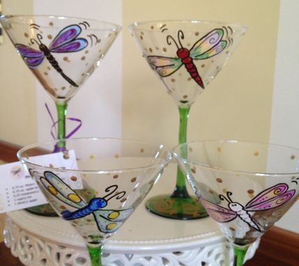 Custom Made Hand Painted Dragonfly Martini Glasses Glassware