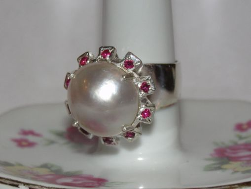 Custom Made Sterling Silver Mabe Pearl And Ruby Cocktail Ring