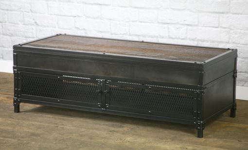 Custom Made Vintage Industrial Lift Top Coffee Table. Reclaimed Wood & Steel. Metal Patina. Barnwood.