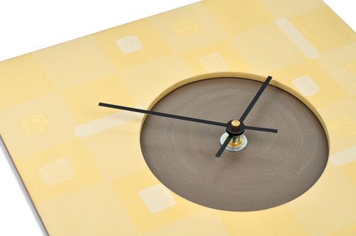 Custom Made Wall Clock - Yellow Boxes Design - 11.5 X 11.5 Square Clock - Ready To Ship