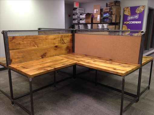 Custom Made Large Reclaimed Wood L Shaped Work Stations