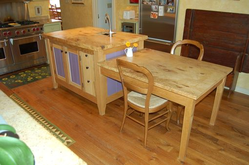 Custom Made Kitchen Island And Attached Table