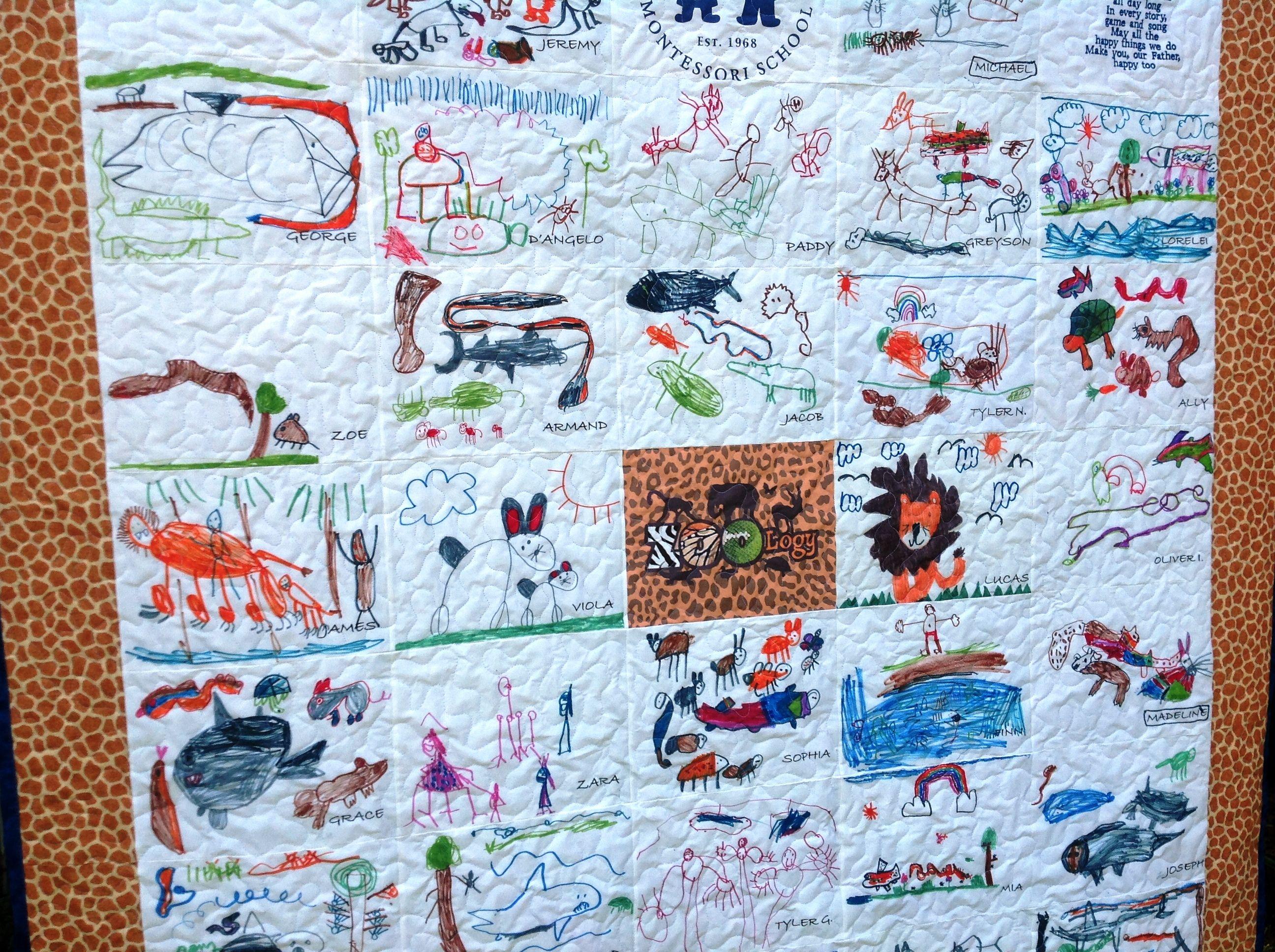 Handmade Custom Children's Art Quilt - Artwork School Kindergarten ... : quilt drawing - Adamdwight.com
