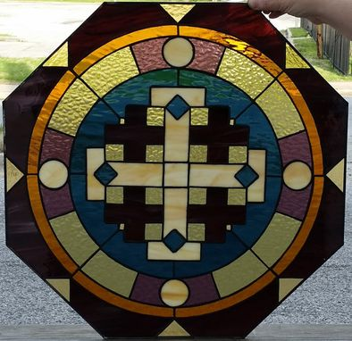"Custom Made Stained Glass Window - ""Circles & Crosses"" (W-93)"