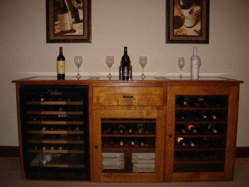 Custom Made Quarter Sawn White Oak Wine Cabinet With Refrigerator