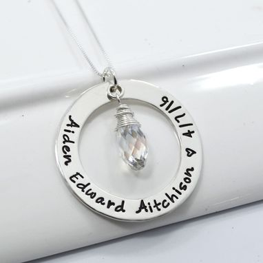 Custom Made New Mom Personalized Necklace With Swarovski Briolette Birthstone