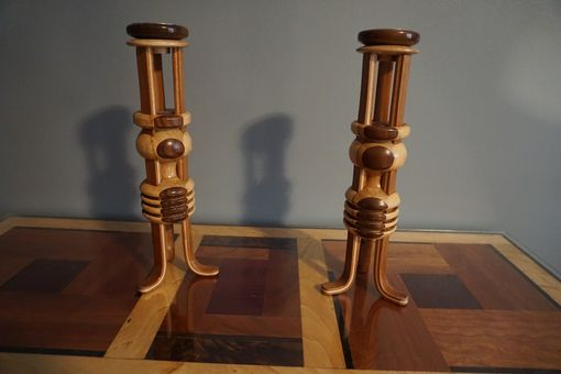 Custom Made Art Deco Wood Candle Holders
