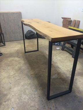 Custom Made Live Edge Industrial Console Table