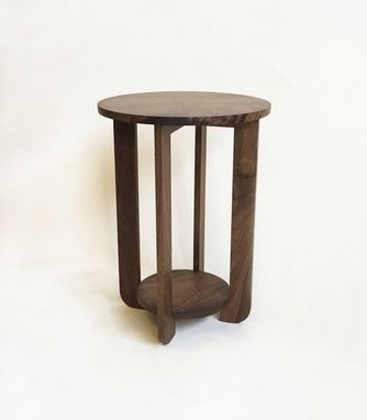 "Custom Made Perriand Style 18"" Round Solid Walnut Mid Century Modern Side Table With Shelf"