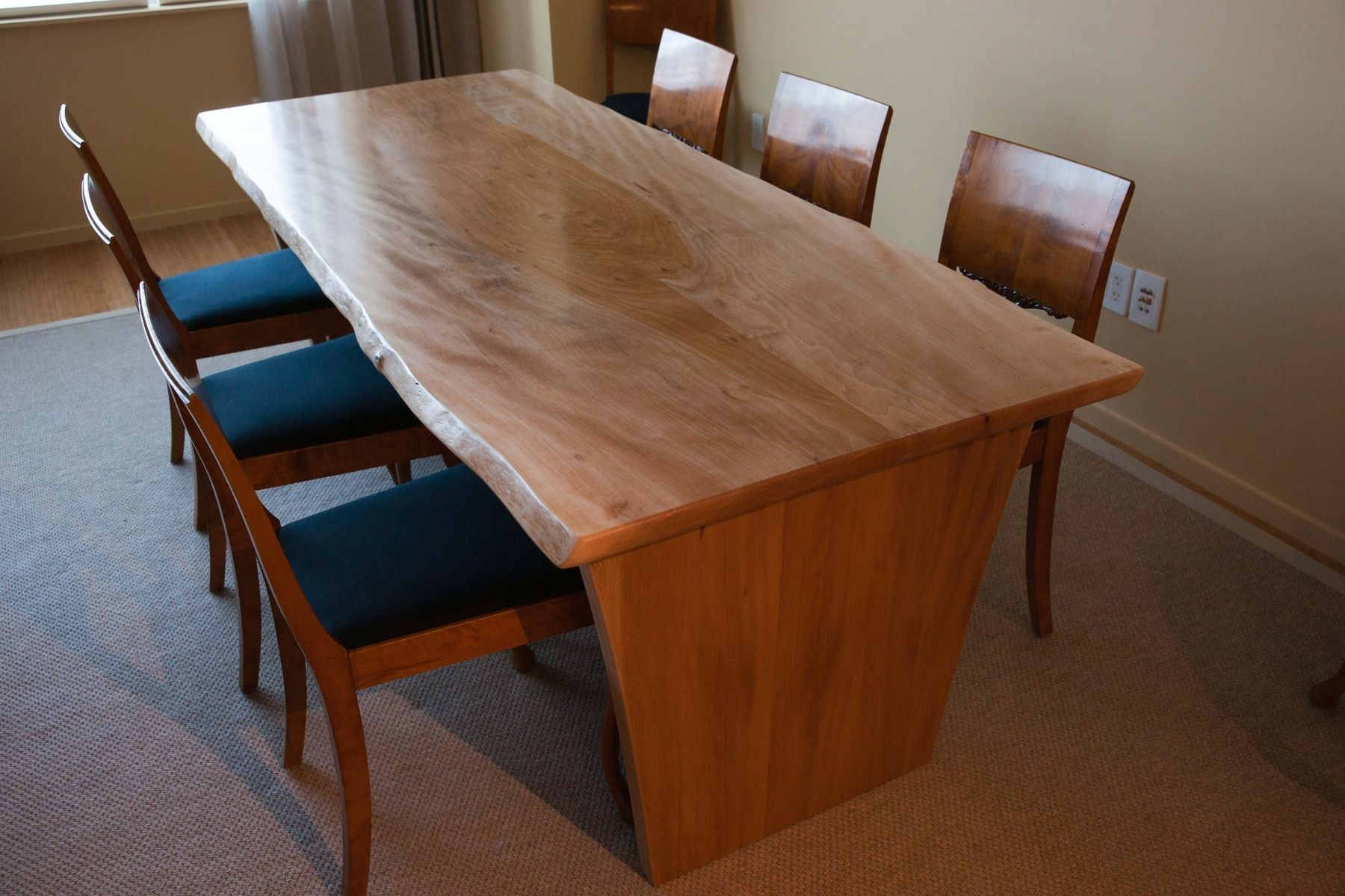 Hand Made Live Edge American Sycamore Dining Table By