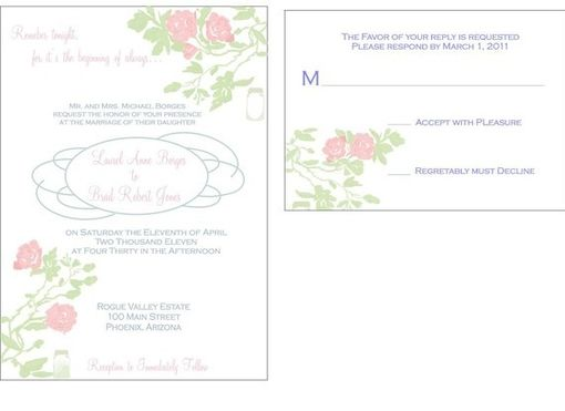 Custom Made 100 Vintage Country Hand Drawn Rose Wedding Invitation Sets