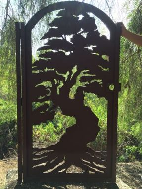Custom Made Japanese Design Bonsai Tree Gate Metal Art Pedestrian Walk Thru Entry Iron Steel Garden