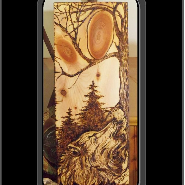 Custom Made Wolf Art Wood Burned Howling Pyrography ArtWolf PlaqueWall Home DecorRustic By Artistic Creations Rose