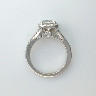 Custom Made Round Diamond Engagement Ring W/ Square Halo And Split Shank - 14k Gold