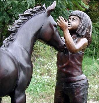 Custom Made Bronze Girl & Foal Sculpture | Life Size Custom Statues & Sculptures - Lost Wax Casting