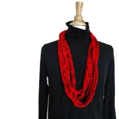 Custom Made Lightweight Cowl Necklace Infinity Scarf Bright Red Blood Red Ruby Red