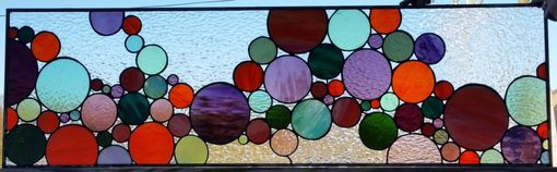 "Custom Made Stained Glass Window - ""Lively Bubbles"" (W-86)"