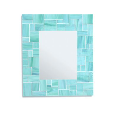 Custom Made Decorative Sea Green Mosaic Bathroom Wall Mirror In Stained Glass Tiles