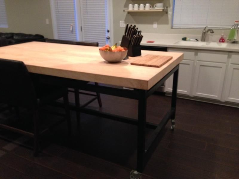 custom made maple kitchen table rolling island - Maple Kitchen Table