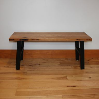 Custom Made Rustic Industrial Bench Made From Reclaimed American Chestnut And Salvaged Steel