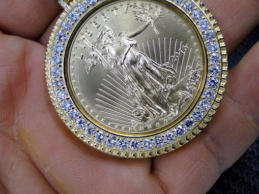 Custom Made 1 Ounce Coin Frame/Holder In 14k Yellow Gold- 2016 1 Oz Gold American Eagle Coin