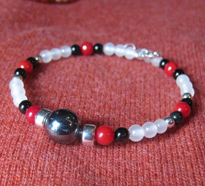 Custom Made Black Onyx, Red And White Gem Wrap Bracelet - Free Shipping
