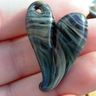 Custom Made Hand-Blown Glass Heart Pendant In Blue And Grey Swirls