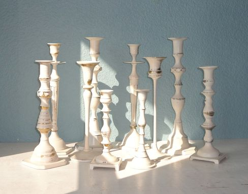 Custom Made Vintage Painted Brass Candlesticks